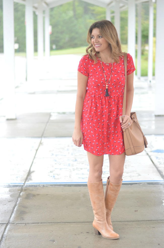 printed swing dress and heeled boots via fizzandfrosting.com