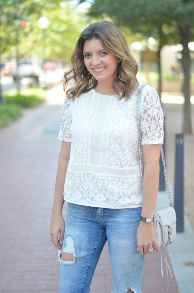 how wear a lace top casually via fizzandfrosting.com