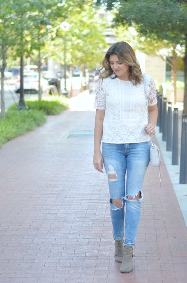 lace for fall with distressed skinny jeans via fizzandfrosting.com