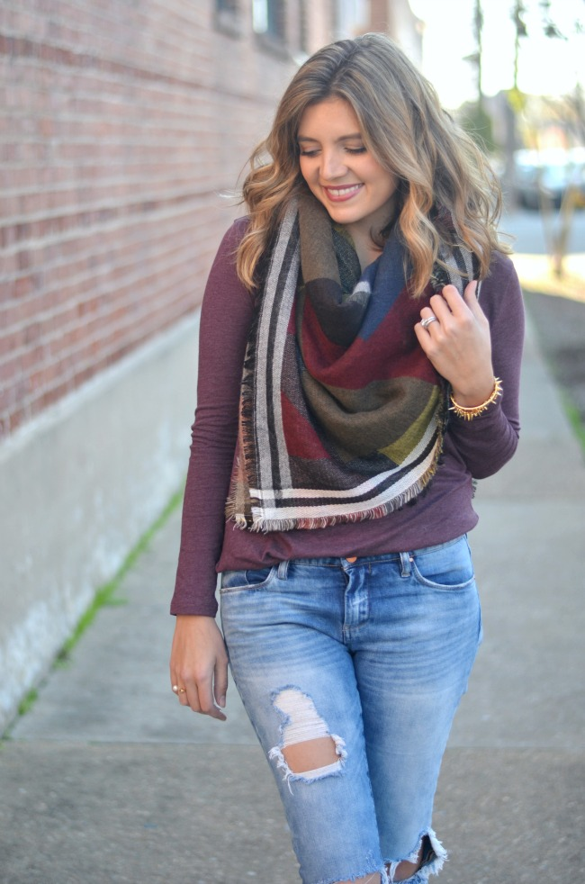 how to style blanket scarf via fizzandfrosting.com