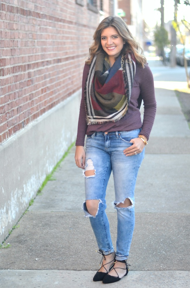 fall style: distressed denim, blanket scarf, lace up flats