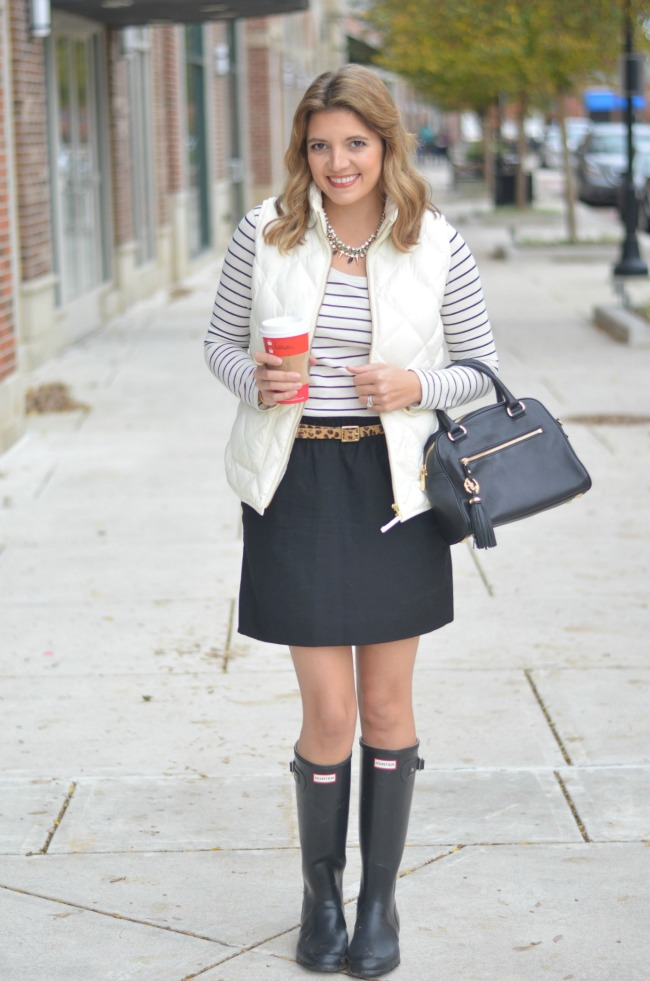 skirt with hunter boots and a vest via fizzandfrosting.com