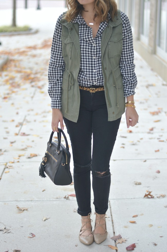 fall style: gingham with a cargo vest via fizzandfrosting.com