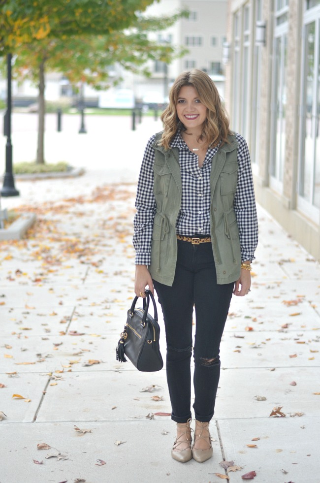 fall fashion: utility vest with gingham and leopard print via fizzandfrosting.com
