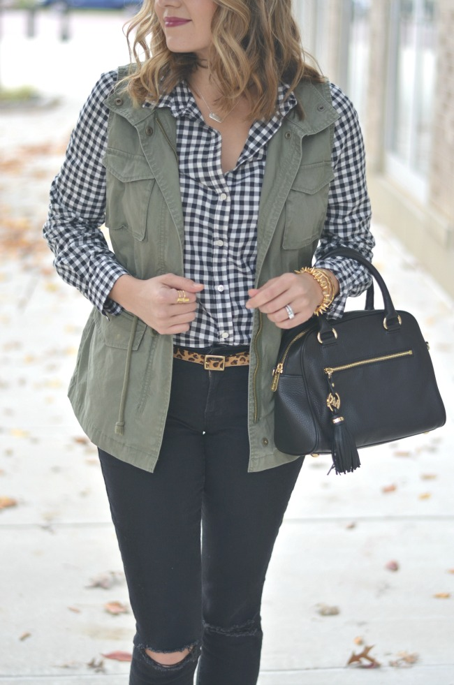 utility vest with gingham button down via fizzandfrosting.com