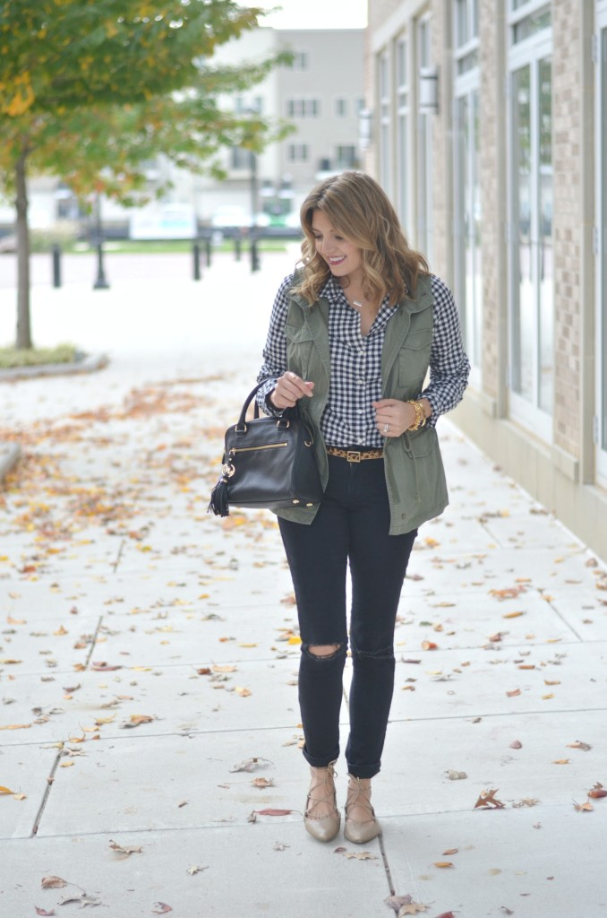 mix prints for fall: gingham, utility vest