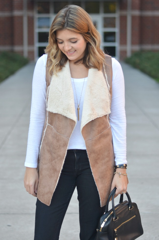 shearling vest with a tee via fizzandfrosting.com