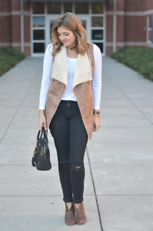 shearling vest with a long sleeve tee via fizzandfrosting.com