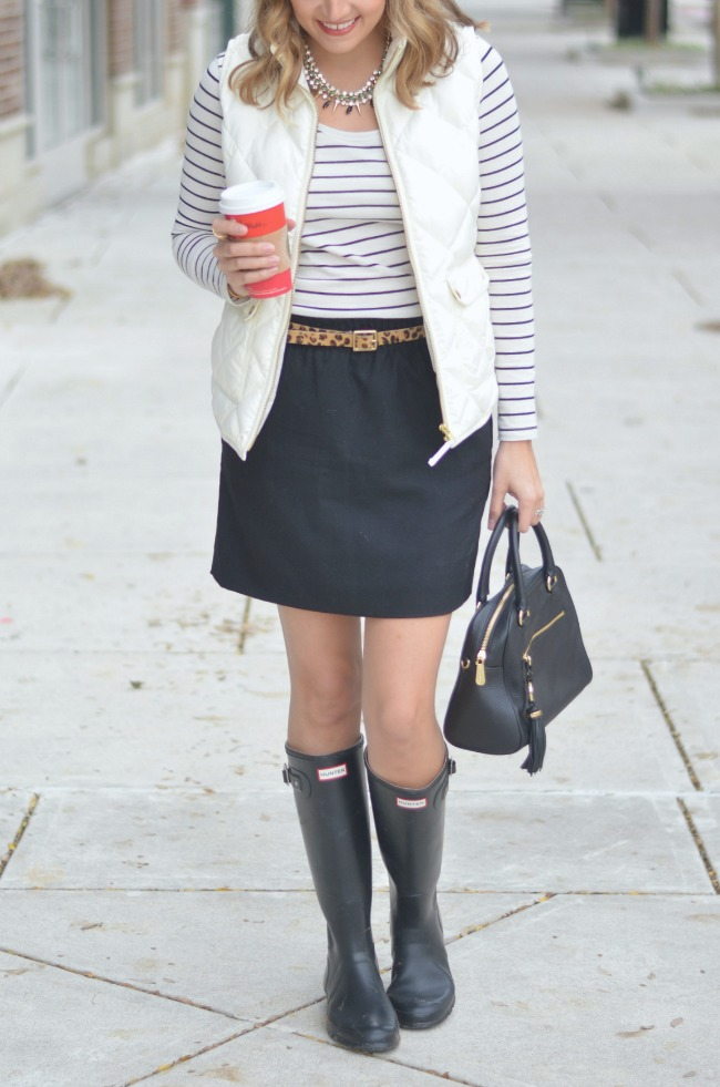 hunter boots and a skirt for fall via fizzandfrosting.com