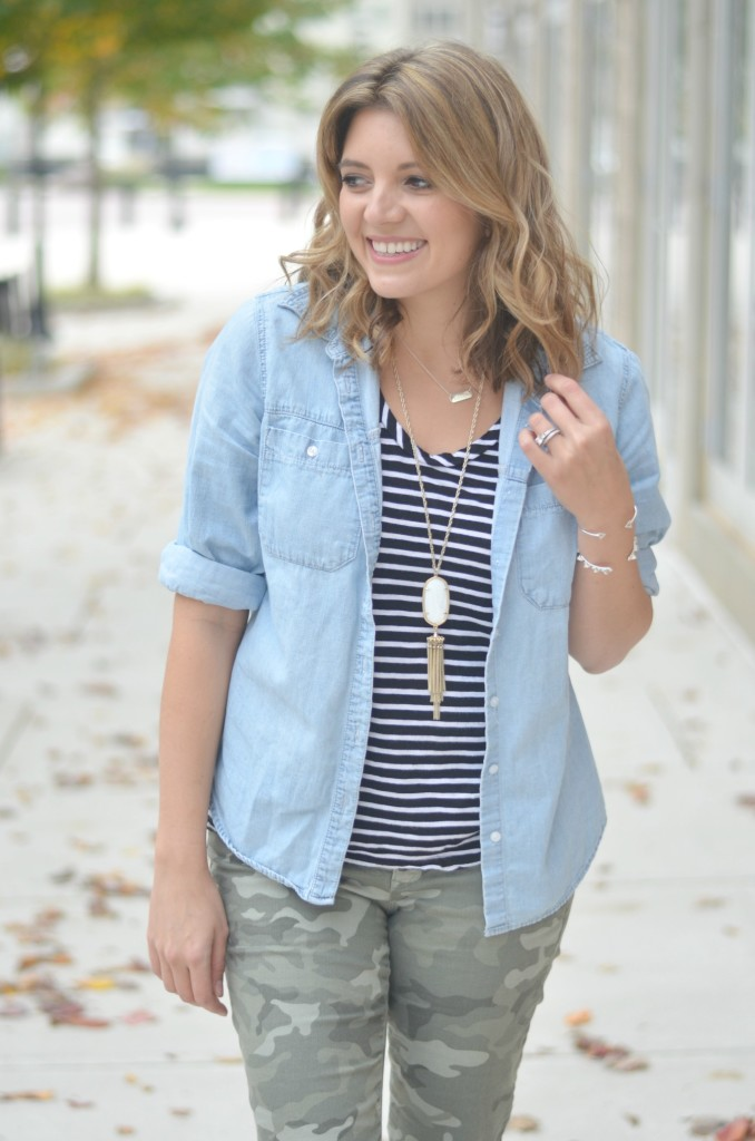 print mixing for fall: striped tee with camo pants via fizzandfrosting.com