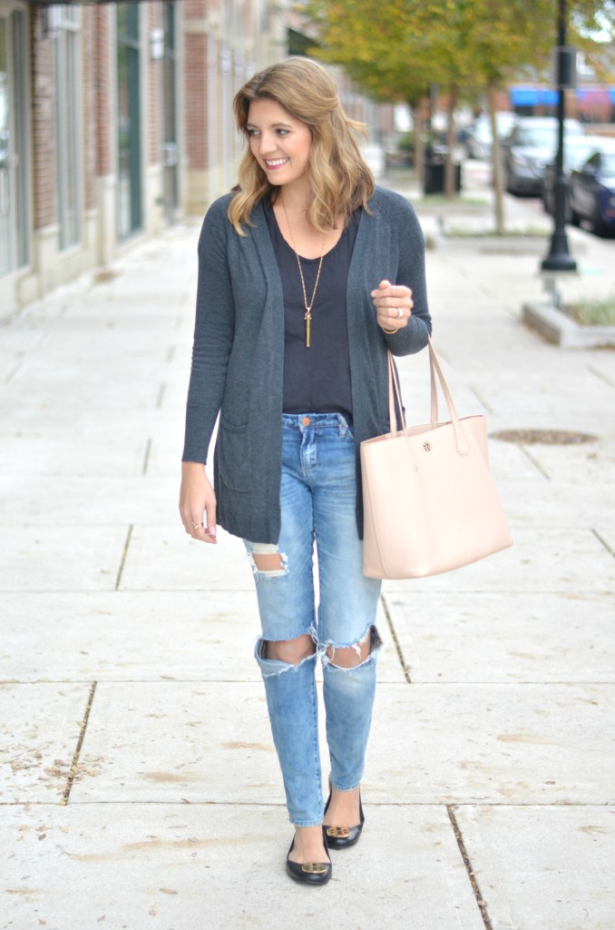 easy casual outfit: distressed jeans with long cardigan via fizzandfrosting.com