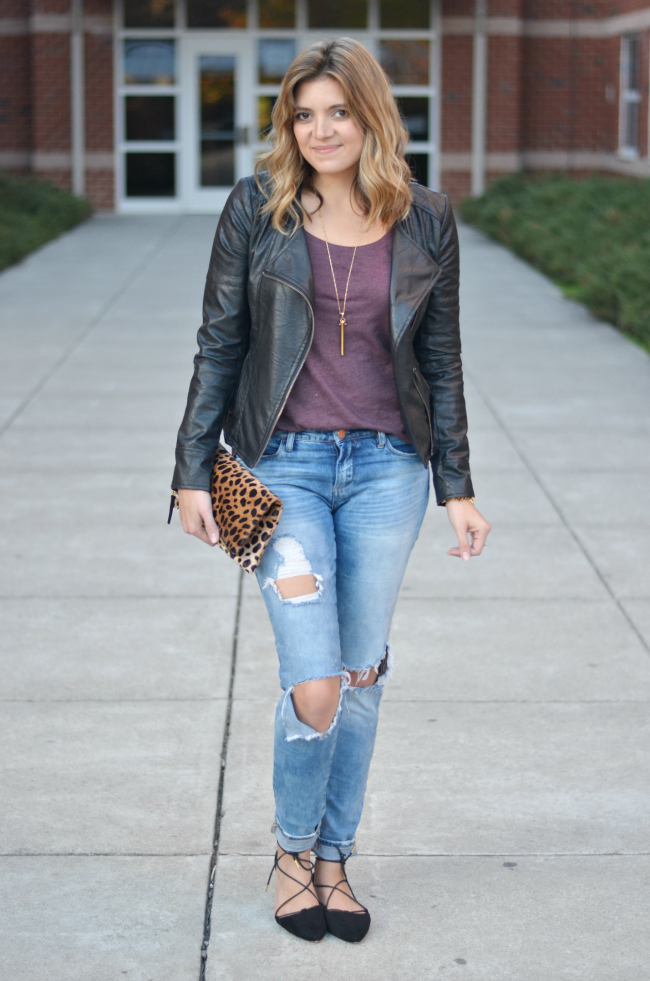 casual outfits: distressed jeans with a leather jacket via fizzandfrosting.com