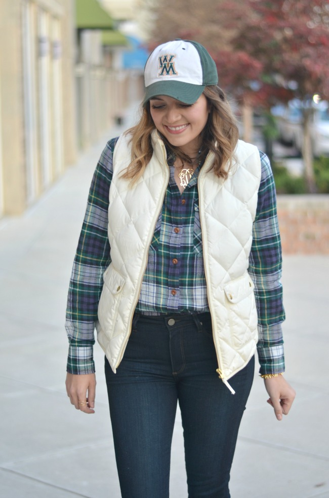 fall preppy outfit - j.crew puffer vest and green plaid top via fizzandfrosting.com
