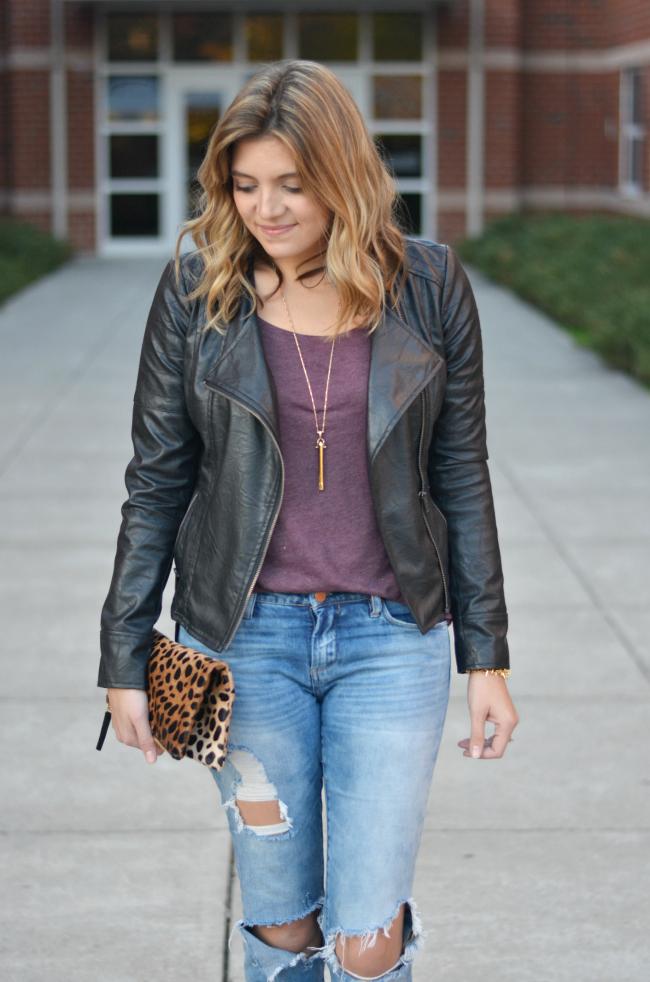 leather jacket with a tee via fizzandfrosting.com