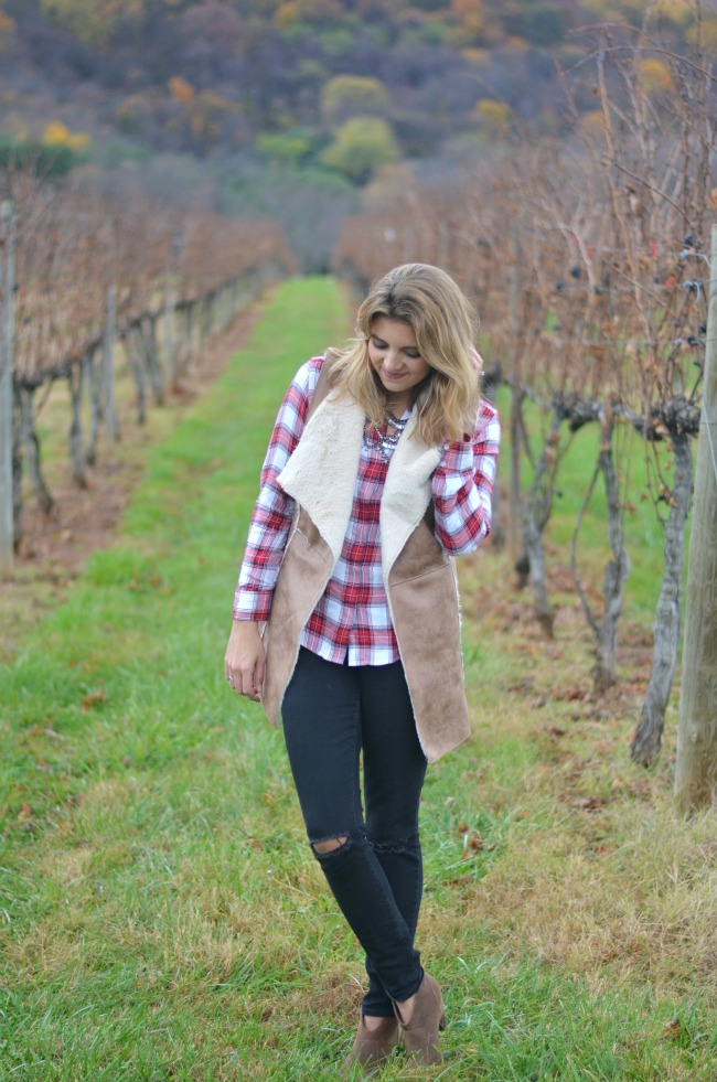 faux shearling vest with plaid button down - easy fall style via fizzandfrosting.com