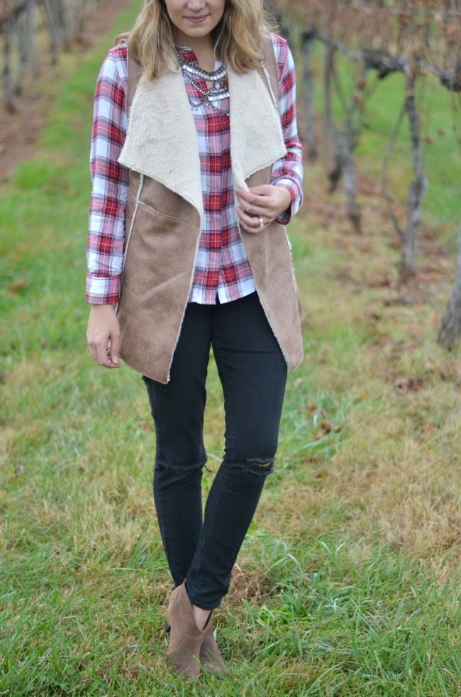 faux shearling vest for fall - layer with plaid button down via fizzandfrosting.com
