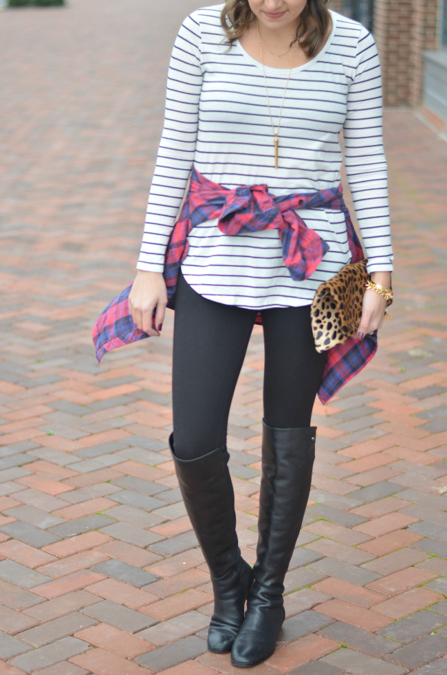 striped tee with plaid button down via fizzandfrosting.com