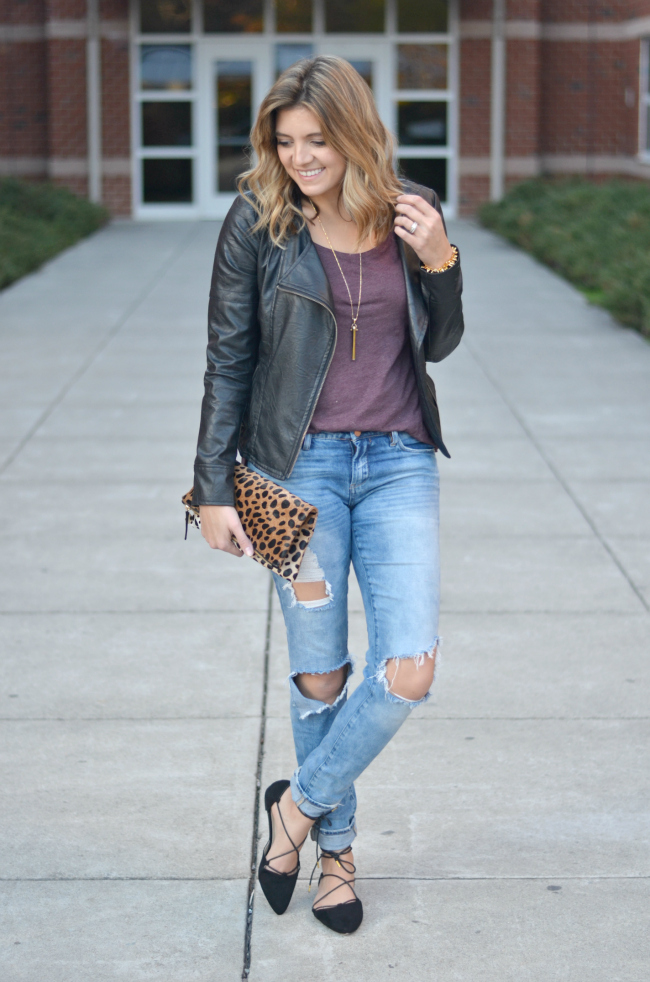 leather jacket with distressed jeans via fizzandfrosting.com