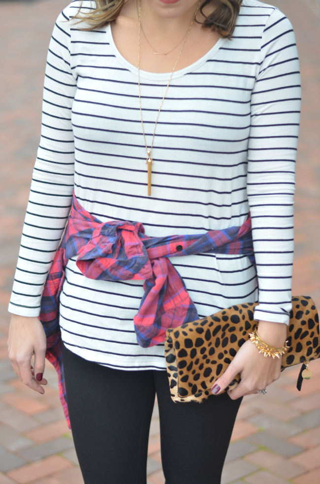 plaid with stripes and cheetah print bag via fizzandfrosting.com