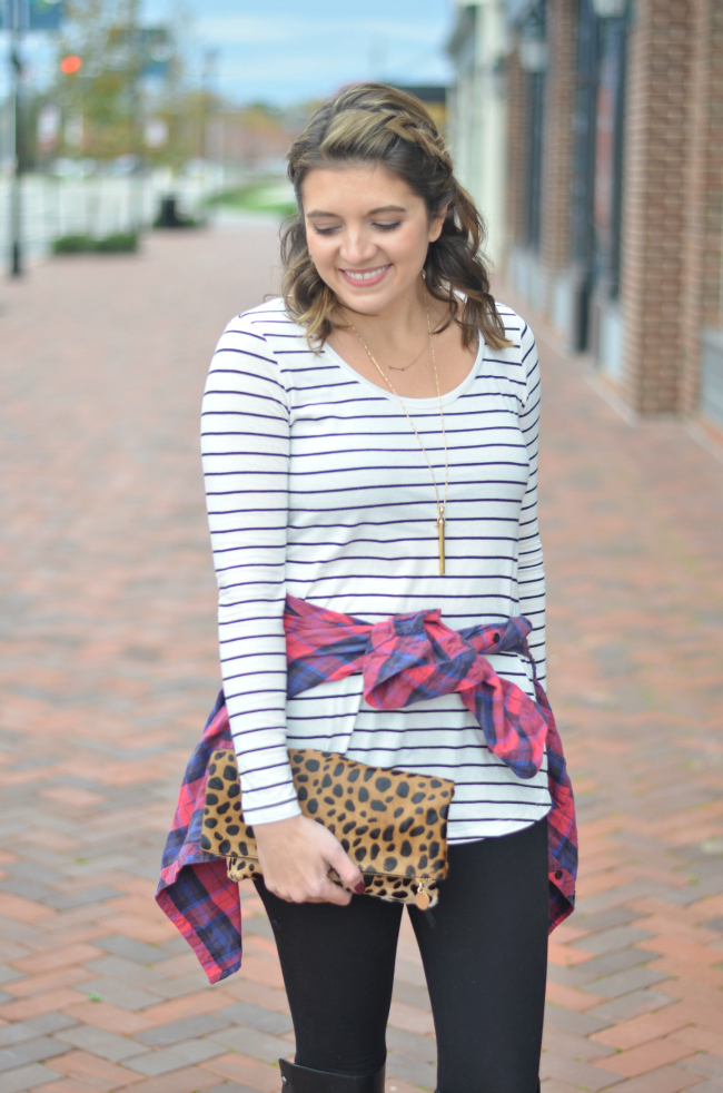 mixing stripes with plaid via fizzandfrosting.com