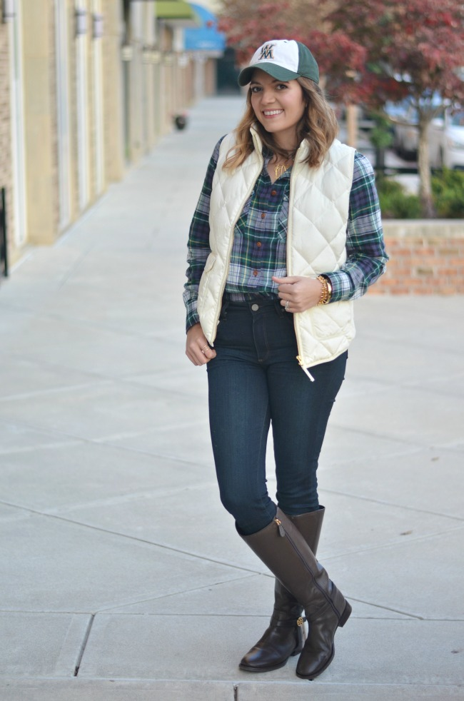 cute fall style - preppy layers with j.crew vest and flannel button down via fizzandfrosting.com