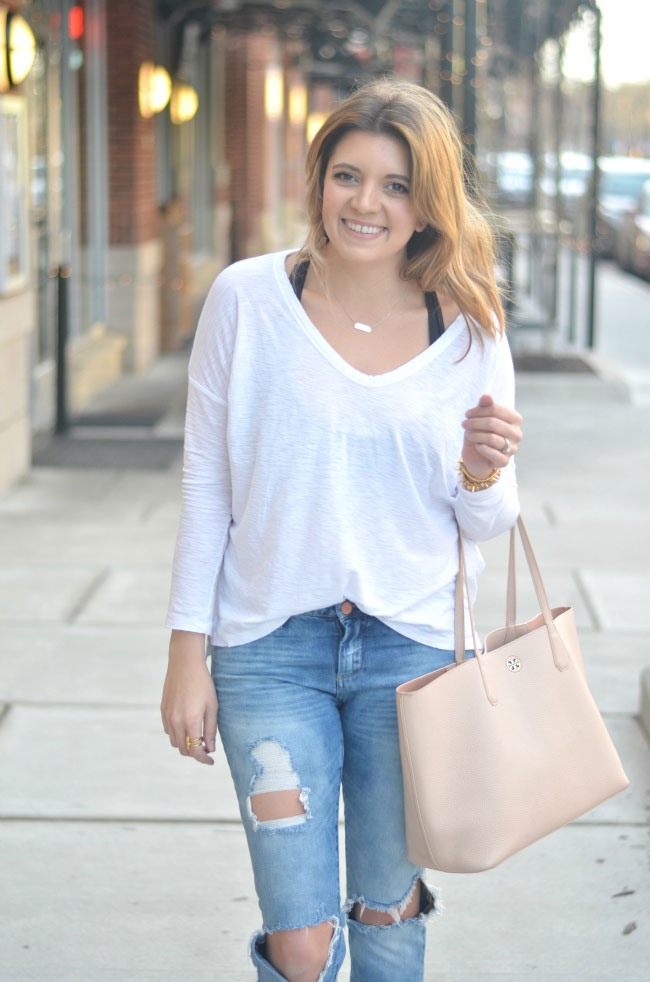 weekend style - james perse tee, blank denim good vibes skinny jeans via fizzandfrosting.com