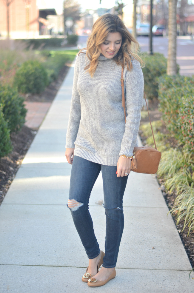 winter neutrals: long grey turtleneck with distressed jeans and tan accessories via fizzandfrosting.com