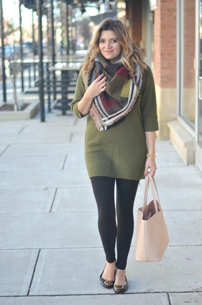 cute winter casual wear - sweater tunic, leggings, and blanket scarf via fizzandfrosting.com