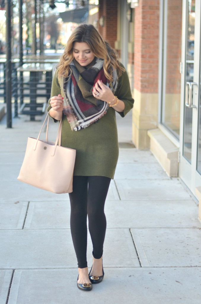 sweater tunic with a blanket scarf via fizzandfrosting.com