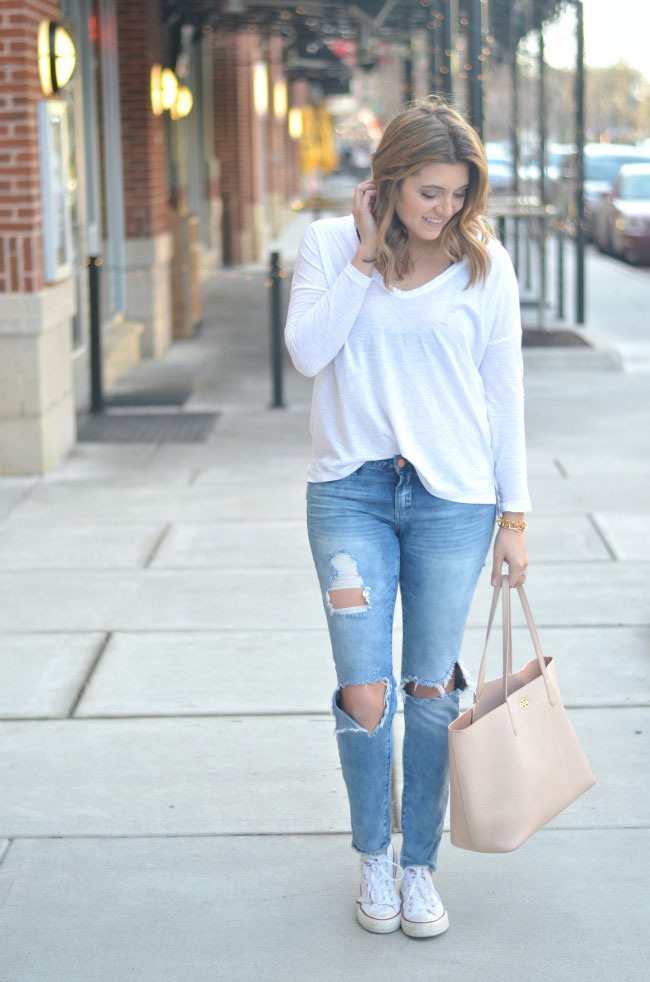 weekend casual - distressed skinny jeans with long sleeve tee via fizzandfrosting.com