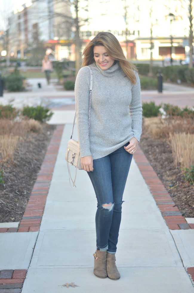 winter casual style - long grey turtleneck, distressed jeans | www.fizzandfrosting.com