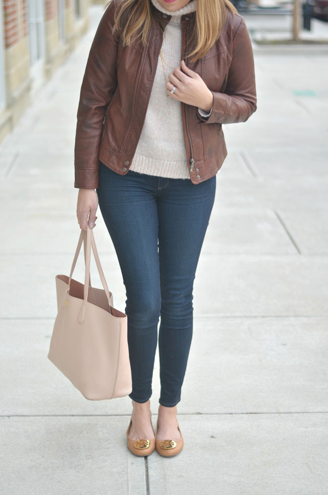 cute winter outfit - leather jacket with turtleneck and skinny jeans | www.fizzandfrosting.com