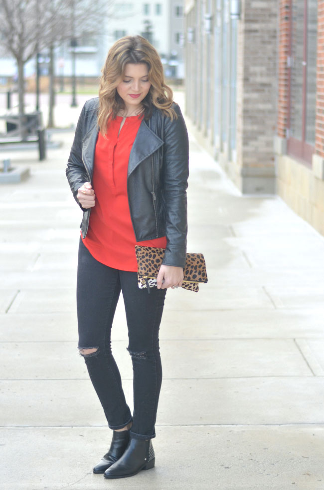 edgy moto jacket with distressed skinny jeans via fizzandfrosting.com