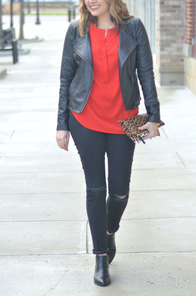 galentine's day - red tunic, black moto jacket, distressed skinny jeans via fizzandfrosting.com
