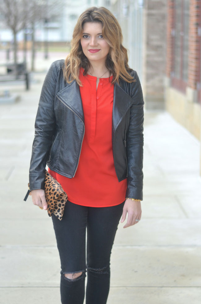 girl's night out outfit - red tunic, leather moto jacket via fizzandfrosting.com