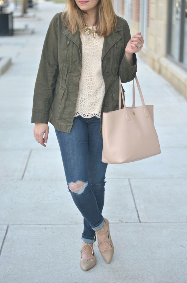 Spring style - lace with a utility jacket and distressed jeans | www.fizzandfrosting.com