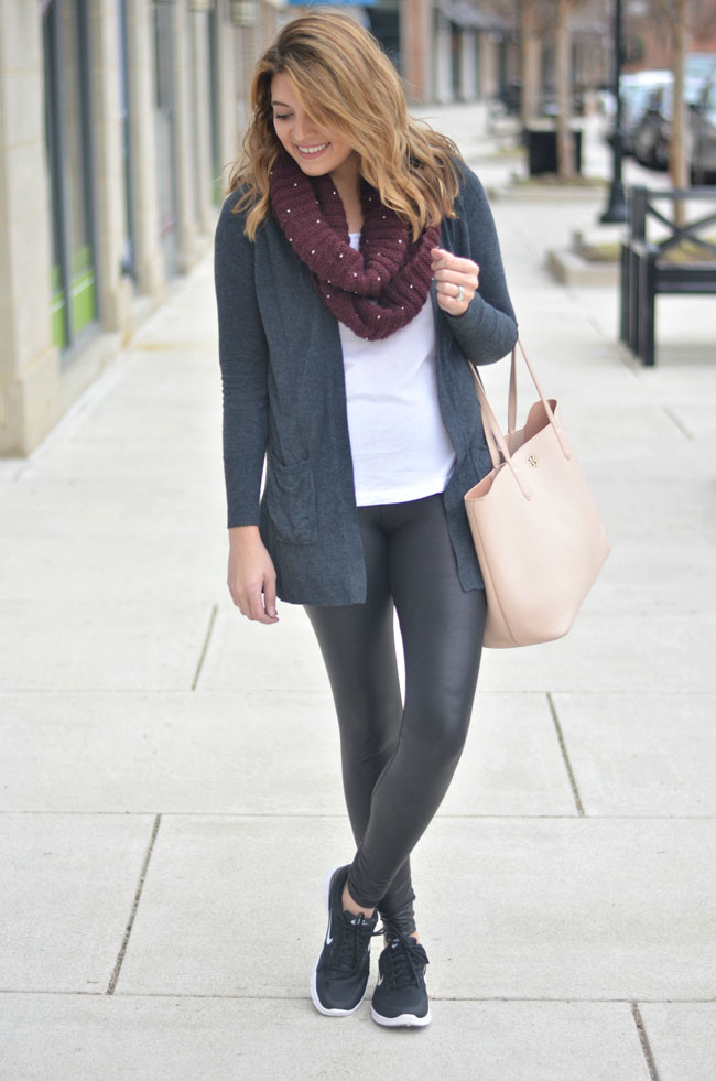athleisure style - faux leather leggings, sneakers, long cardigan | fizzandfrosting.com
