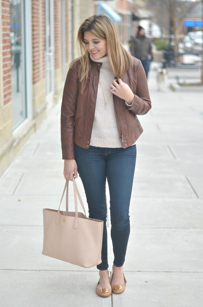cute winter style - turtleneck with a leather jacket | www.fizzandfrosting.com