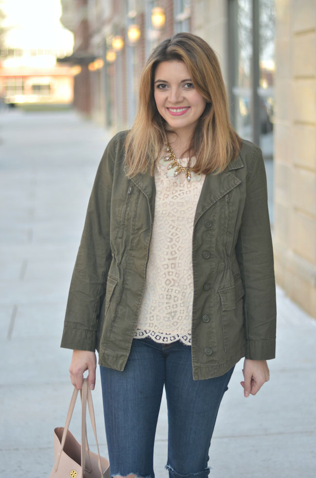 cargo jacket with lace scallop top | www.fizzandfrosting.com