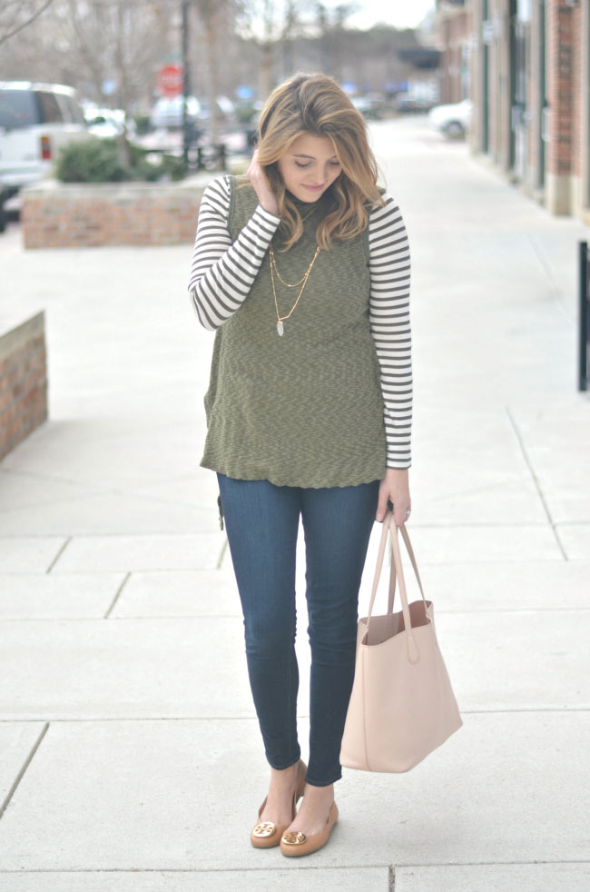 ways to wear a striped turtleneck for winter via fizzandfrosting.com
