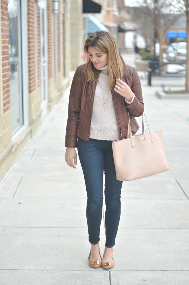 stylish winter outfits - blush sweater, brown leather jacket | www.fizzandfrosting.com