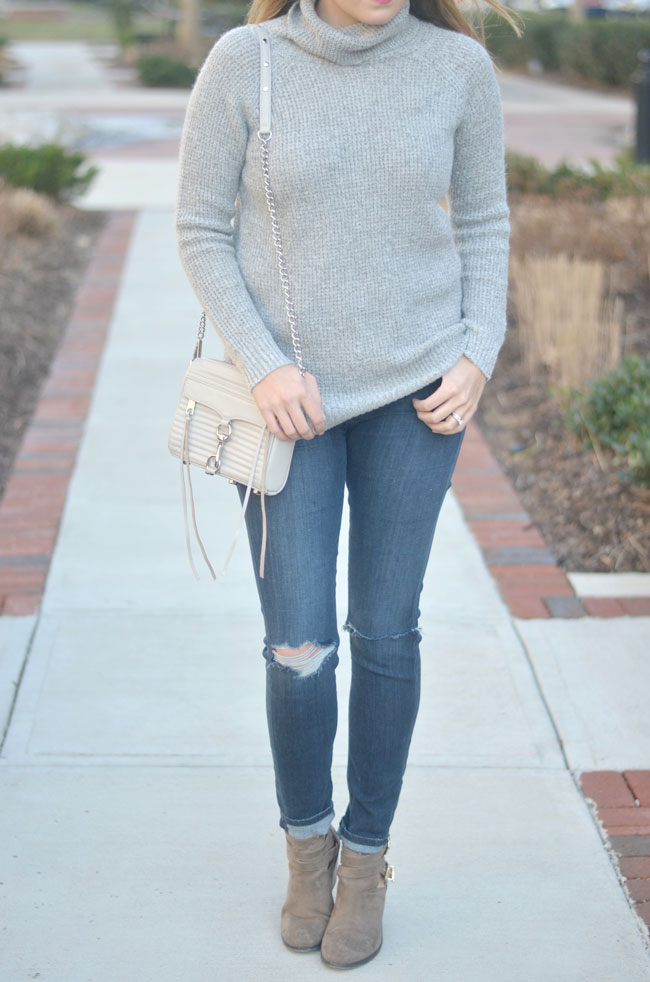 mixing gray - gray turtleneck, distressed skinny jeans, gray booties | www.fizzandfrosting.com
