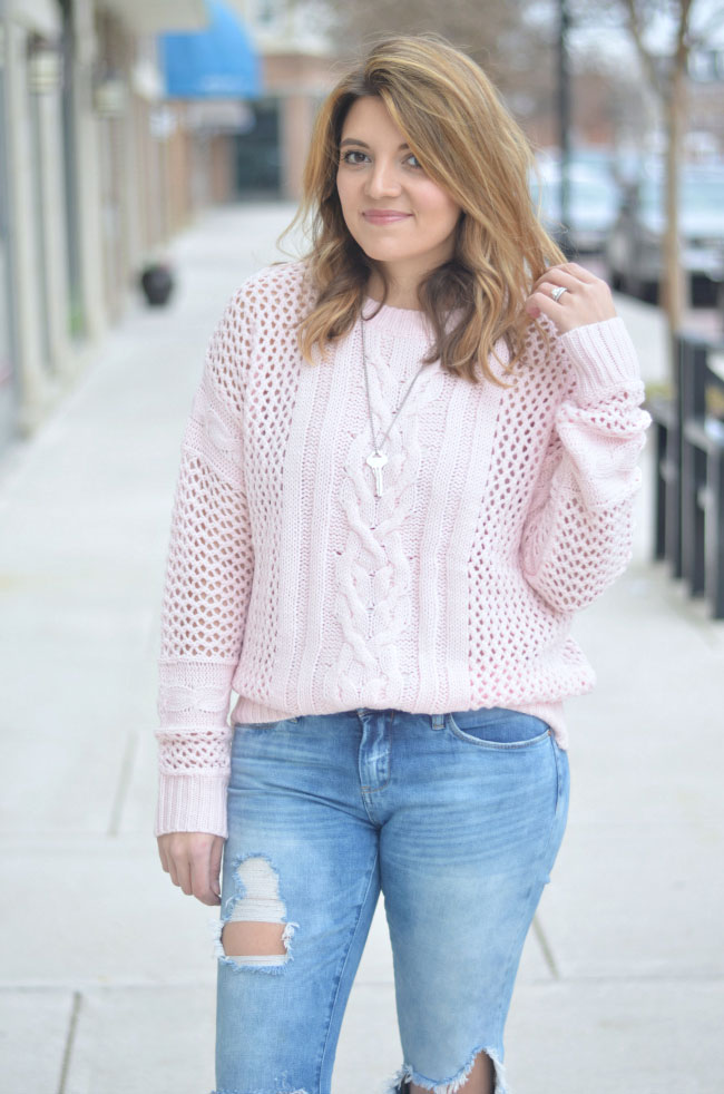 blush pink oversized sweater, distressed jeans via fizzandfrosting.com