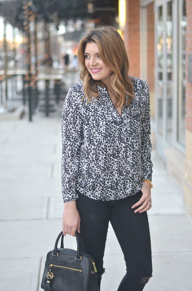 snow leopard top with black skinnies via fizzandfrosting.com