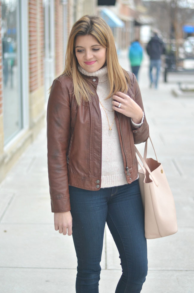 leather jacket with turtleneck | www.fizzandfrosting.com