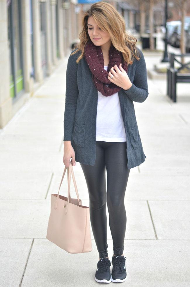 athleisure - faux leather leggings, long cardigan, tennis shoes | fizzandfrosting.com