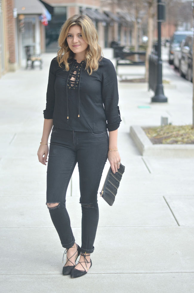 how wear all black for Spring | www.fizzandfrosting.com