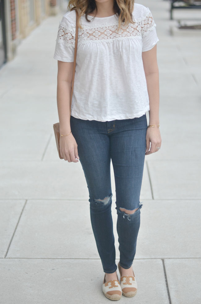 stylish Spring outfits for moms - lace white tee, skinny jeans, espadrilles | www.fizzandfrosting.com