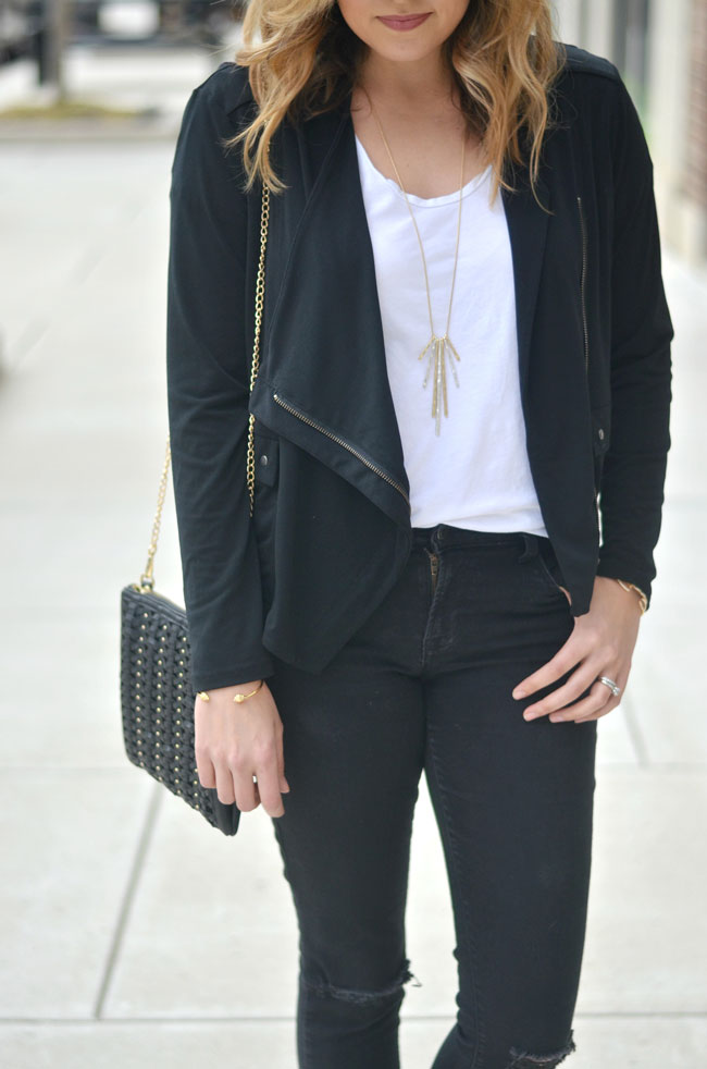 draped jacket with a tee and jeans | www.fizzandfrosting.com