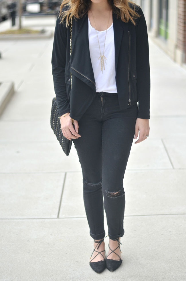 cute casual outfit for moms - draped jacket, tshirt, jeans, and flats | www.fizzandfrosting.com